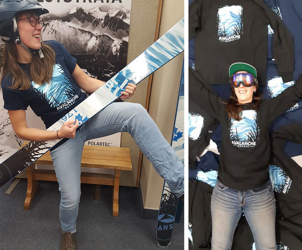 photo des t-shirts et skis avalanche quebec